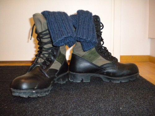 Boots with woolly socks