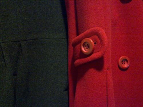 Grey and red winter coat